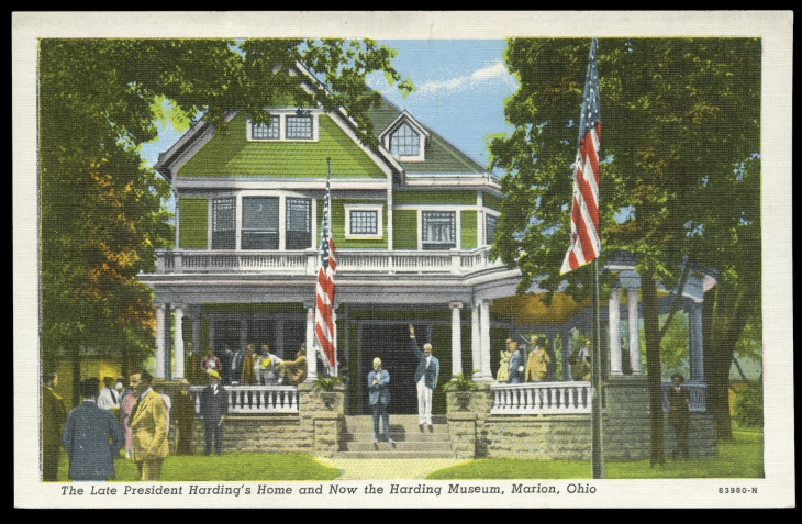 A 1923 postcard depicted Harding's famous front porch campaign during the 1920 presidential election.
