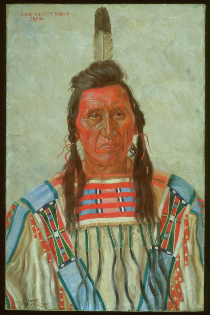 Portrait of Chief Pretty Eagle (or Déaxitchish in Crow) by E. A. Burank. St. Xavier, Montana, 1897.