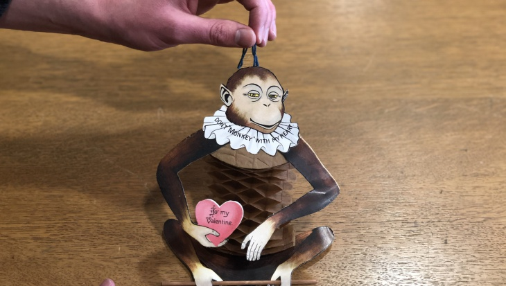 Nothing says romance like a monkey with an extensible crepe-paper torso.