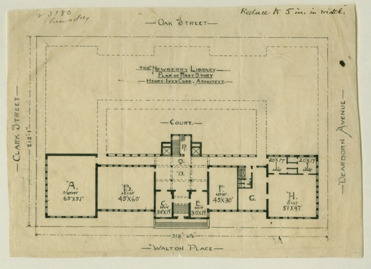 "After his ""surrender"" to Newberry Librarian William Frederick Poole, architect Henry Ives Cobb drew up a revised plan for the library's first floor that included the three additional wings (sketched out in dashed lines) and the courtyard envisioned by Poole."