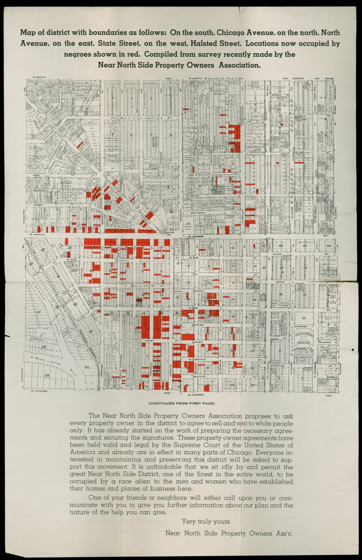 To stoke fear among white property owners, the Near North Side Property Owners Association supplemented their racist campaign with a map showing African American residences in the neighborhood.
