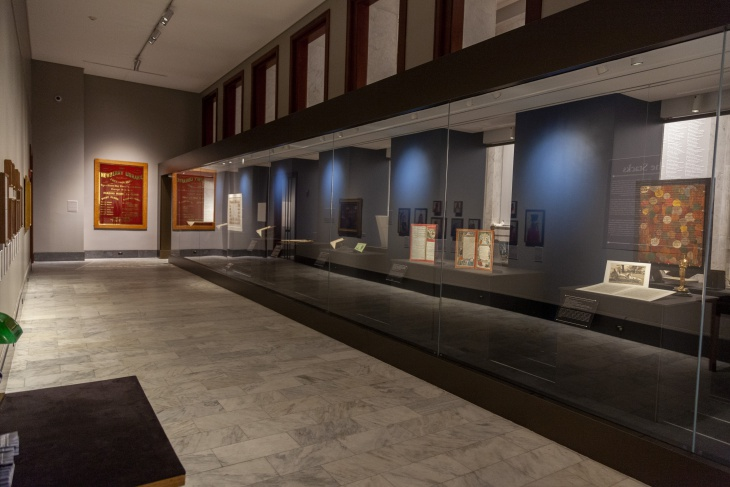 One of the architectural show-stoppers on the Newberry's renovated first floor is a 46-foot-long climate-controlled display case in the Hanson Gallery, home of From the Stacks, a new permanent exhibit of library collection items.