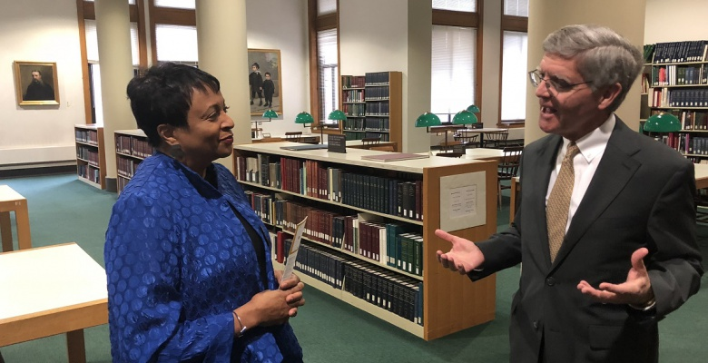 Carla Hayden tours the Newberry Library with David Spadafora before the award ceremony