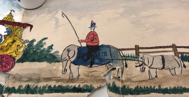 """Detail showing """"Tip Saib,"""" otherwise known as """"Tippo Sahib,"""" a circus elephant."""
