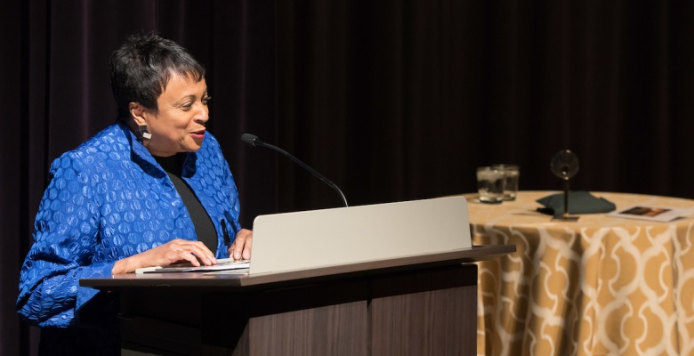 Librarian of Congress Carla Hayden addresses the audience after receiving the 2018 Newberry Library Award