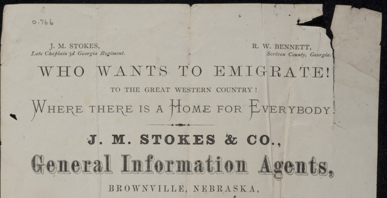 """""""Who wants to emigrate to the great western country!"""" J.M. Stokes & Co., ca. 1865"""