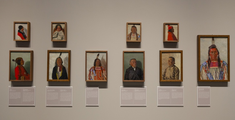 Native American portraits by E.A. Burbank. From left to right, top to bottom: Pahl-lee (Hopi), Chief Wolf-Robe (Cheyenne), Gi-aum-e Hon-o-me-tah (Kiowa), Chief Red Cloud (Oglala Lakota), Chief American Horse (Northern Cheyenne), Chief Joseph (Nez Perce), Chief Keokuk (Sac and Fox Nation), Geronimo (Chiricahua Apache), Chief Po-ka-gon (Potawatomi), and Chief Pretty Eagle (Crow).