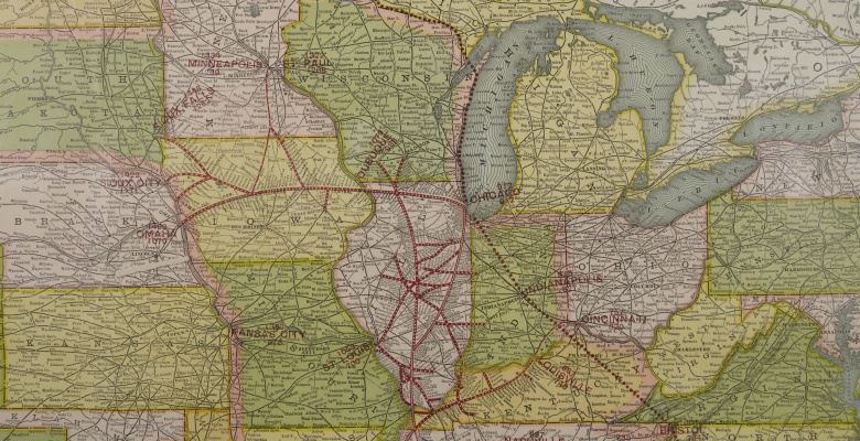 Map of the Illinois Central and Yazoo & Mississippi Valley Railroads. Poole Bros., 1903