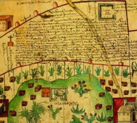 Newberry Ayer MS 1801, map 1: lands in the Tultepec and Jaltocan regions adjacent to the Hacienda de Santa Ines, Mexico, 1569. Click to enlarge.