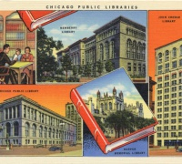 Chicago Public Libraries: Chicago Truly is a Bookish Town.  Curt Teich & Co, 1937. (7AH727)