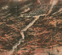 Detail of the Great Chicago Fire of 1871, from Richard's Illustrated and Statistical Map of the Great Conflagration in Chicago (1871).