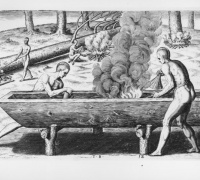 """The manner of makinge their boates"" by Theodor de Bry after a John White watercolor. Native Americans make a dugout canoe with seashell scrapers. 1590"