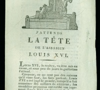 J'Attends la tete de l'assassin Louis XVI, 1709. Newberry Case Wing DC137.08 .F73 v. 3 no. 5.