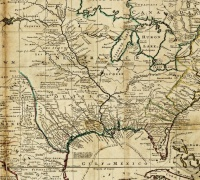 """Detail from """"A new map of the north parts of America claimed by France under ye names of Louisiana, Mississipi, Canada and New France . . ."""", by H. Moll, geographer, 1720."""