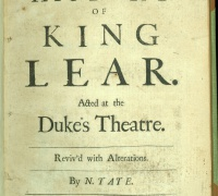 William Shakespeare, The History of King Lear, 1681. Newberry Case YS 74 .681.