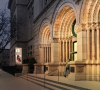 Rendering of the new lighting on the Newberry front entrance.
