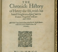 Henry V, London: Jaggard, 1619. Newberry Case YS 725 .607