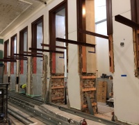 A series of cantilevers will support a 46-foot-long case for displaying collection items in our new permanent exhibition gallery.