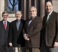 (l to r): Newberry President David Spadafora, Illinois Mayflower Society Education Committee Chair William Conger, Illinois Mayflower Society Governor Max Brown, and Newberry Vice President for Research and Academic Programs Daniel Greene