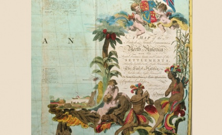 Cartouche from A Map of the British and French Dominions in North America, John Mitchell. 1755.