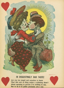 Vinegar valentines became popular in the U.S. in the 1840s and 1850s.