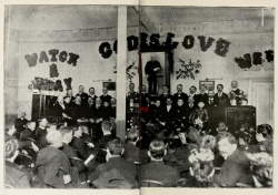 Interior of the mission. Report of the Work of the Nineteenth Year of the Pacific Garden Mission Ending September 15th, 1896 (Chicago: Pacific Garden Mission, 1896), 12-13. D 8896.