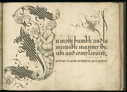 "John Scottowe. Letter ""I"" from ""Calligraphic Alphabet,"" 1592. Wing MS ZW 545 .S431."