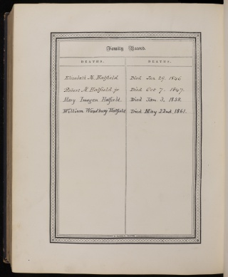 Family bible page showing a list of deaths between 1846 and 1861