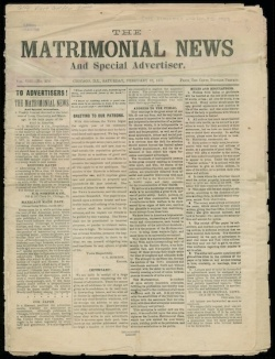 An 1877 edition of The Matrimonial News