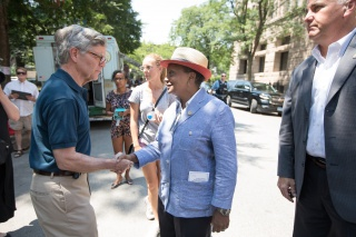 Mayor Lori Lightfoot is greeted by Newberry President David Spadafora