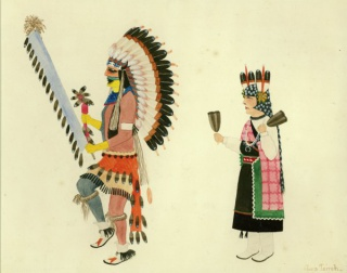 A painting by Alfonso Roybal (Awa Tsireh) depicting two Comanche dancers.