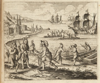 Bartholomew Gosnold trading with Wampanoag Indians at Martha's Vineyard, Massachusetts, 1597