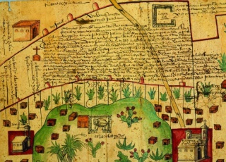 Newberry Ayer MS 1801, map 1: lands in the Tultepec and Jaltocan regions adjacent to the Hacienda de Santa Ines, Mexico, 1569. Click to enlarge