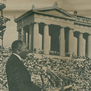 Martin Luther King Jr., speaking at Soldier Field in Chicago. June 21, 1964. From the Chicago Sun-Times. Midwest MS Field Enterprises: Box 69, Folder 978.