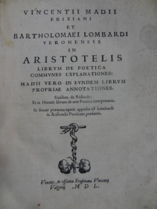 Maggi and Lombardi's Commentary on Aristotle's  Poetics', 1550