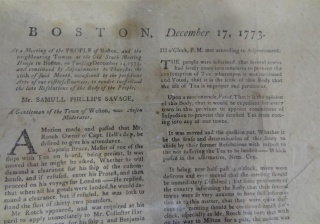 Broadside on the meeting that preceded the Boston Tea Party, 1773.