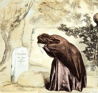 """""""The Patriot Mother at Her Boy's Grave,"""" from The Soldier's Casket, 1865."""
