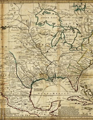 "Detail from ""A new map of the north parts of America claimed by France under ye names of Louisiana, Mississipi, Canada and New France . . ."", by H. Moll, geographer, 1720."