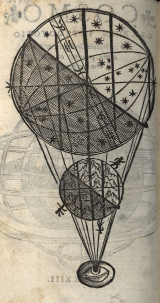 Apian, Cosmographiæ, 1533, t.p.v and 1r. Newberry Ayer 7 .A7 1533b.
