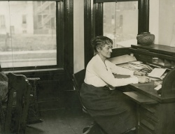Harriet Monroe in her Cass Street Office. Harry Hansen Papers, The Newberry Library.