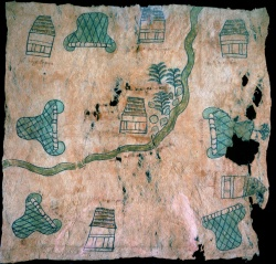 Map with Nahuatl glyphs, 16th century. Newberry Ayer MS 1903.