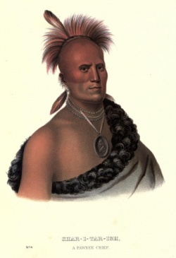 """Sharitarish: A Pawnee Chief,"" by Charles Bird King. Reprinted in Thomas McKenney's History of the Indian Tribes of North America, Vol. I (1836)"
