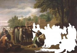 "Benjamin West. ""William Penn's Treaty with the Indians when he founded the Province of Pennsylvania in North America,"" 1771. Photo edited by Catherine Gass, Newberry Library."