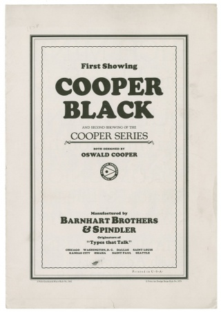 First advertising brochure for Cooper Black type, 1919