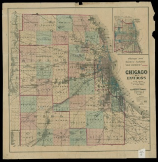 Chicago and Environs: 1 map : hand col. ; 61 x 64 cm.; At head of title: Chicago and Western Indiana 'Belt Division.'; Distances shown with circles of increasing size radiating from Chicago.