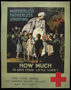 The Red Cross pictured sentimental images of the Great War's tragic consequences. Case Wing oversize D522.25 .W67 1914 no. 60.