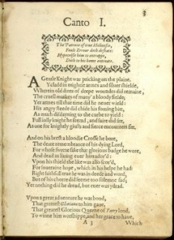 Edmund Spenser, Faerie Queen, Canto I, 1590, Case 4A 923 vol.1