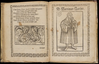 Martin Luther, 1483–1546. Sermon on Three-Fold Righteousness. (Sermo de triplici justitia.) Book with woodcuts, printed in Leipzig, Germany, by Melchior Lotther in 1518.