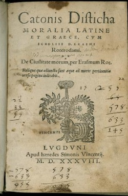 Catonis disticha moralia Latine et Graece, 1538. Newberry Case PA6272 .A2