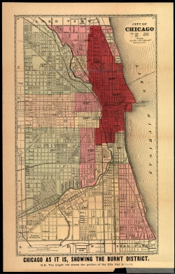 Gaylord Watson. Chicago Fire Map. 1871.